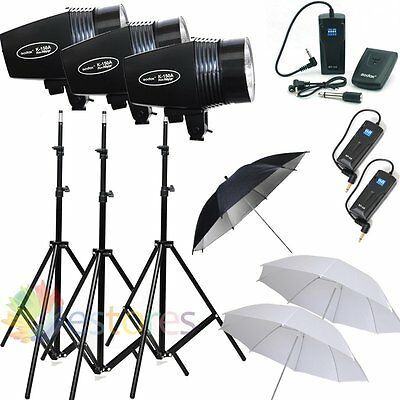 GODOX K-150A 3x 150W Studio Flash Lighting Photography Strobe Light Trigger Kit