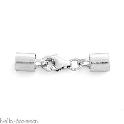 5Set Hello Hot Sterling Silver Lobster Cord Clasp Set Claw Clasp& End Caps Hot