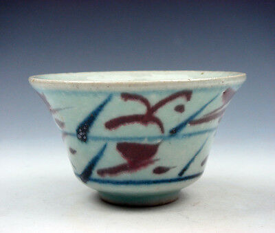 Antique Chinese Blue&White Ox-Blood Red Leaf Hand Painted Bowl Cup #04081602