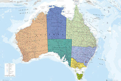 Wall Map of AUSTRALIA Poster (Cities, Territories, Geography, etc.) Full 24x36