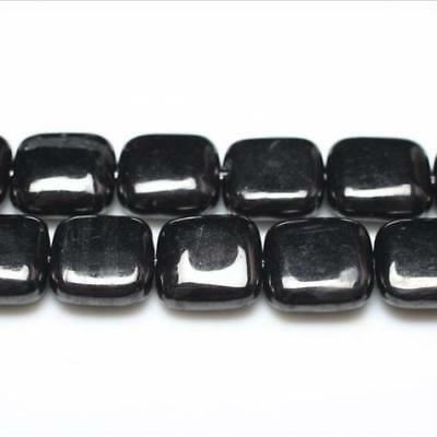 Strand Of 30+ Black Jet 12mm Puffy Square Beads GS1542-1