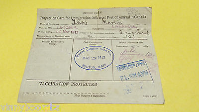 Rare 1912 Cunard Ocean Liner Laconia Inspection Card Sailing England To Boston !