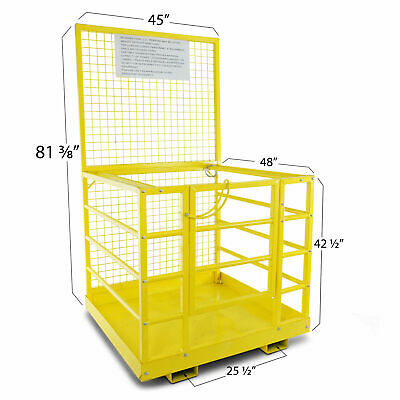 "Forklift Safety Cage Work Platform Heavy Duty Basket Aerial Fence Rails 45""x43"""