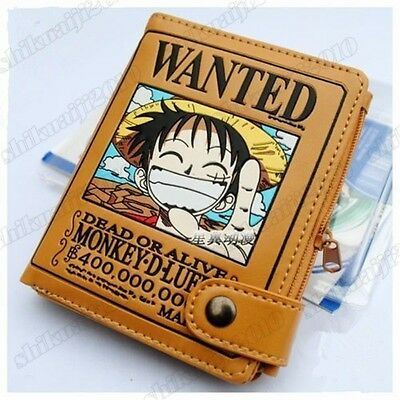 Japan Anime One Piece Monkey D Luffy Pirate Wanted Wallet Purse Cosplay Leather