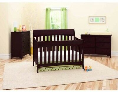 Graco 5-in-1 Convertible Crib in Espresso Bed Set Kids Bedroom Furniture