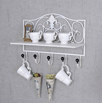 Wall Coat Rack Shelf Hook Country House Style Wardrobe Towel Holder Rail