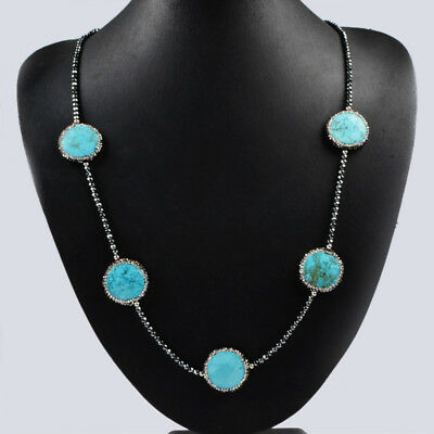 "30/"" Blue Turquoise Natural Pearl Pave CZ Black Stone Necklace Jewelry DIY BJ203"