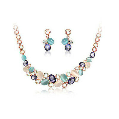 Fashion Women Girl Jewelry Sets Gold Plated Opal Chain Necklace Stud Earrings