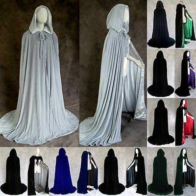 Women Mens Cosplay Velvet Cloak Witch Adult Hooded Cape Halloween Party Costume