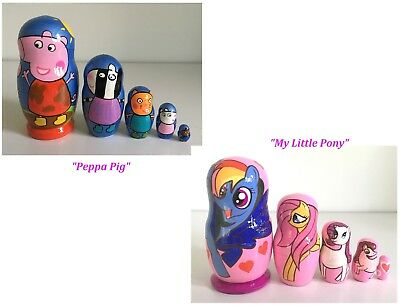 5 RUSSIAN NESTING MATRYOSHKA DOLLS/CARTOONS CHARACTERS/PICK YOUR DESIGN/12cm