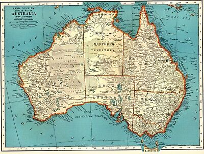 1939 Vintage AUSTRALIA MAP of Australia Gallery Wall Art Home Decor #2828