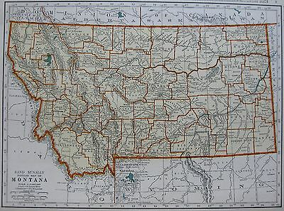 1940 Vintage MONTANA MAP State Map of Montana Print Gallery Wall Art 2837