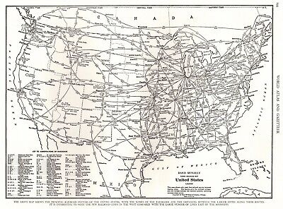 1945 UNITED STATES Map with RAILROADS Black and White Gallery Wall Art 2841