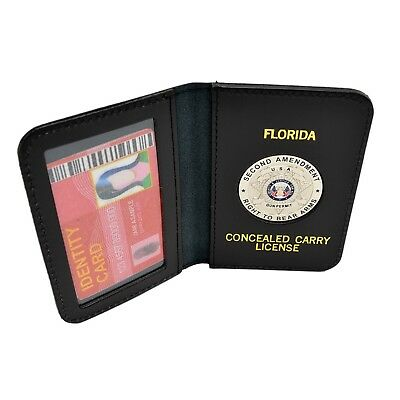 Florida CWP CCW Concealed Weapons Carry Permit Medallion Leather Wallet Case