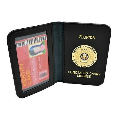 Florida CWP CCW Concealed Weapons Carry Permit Gold Medallion Leather Wallet
