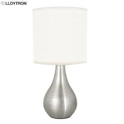 Lloytron Eclipse Touch Table Lamp Brushed Chrome White Room Table Light Home New