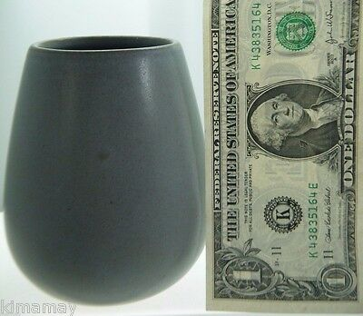 """Antique Signed Marblehead Pottery Matte Gray 4 3/8"""" Vase"""