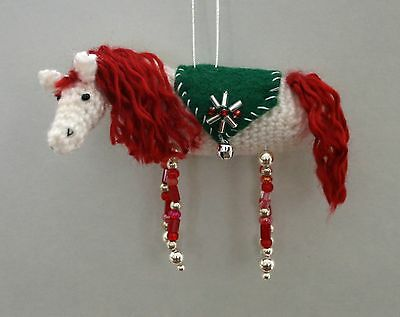 Christmas Horse Crochet and Beading Ornament Craft Kit w/ Fine Merino Wool  RED