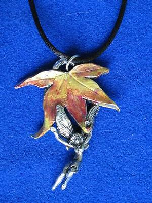 Autumn Fairy Pendant - Pewter    Made in the USA