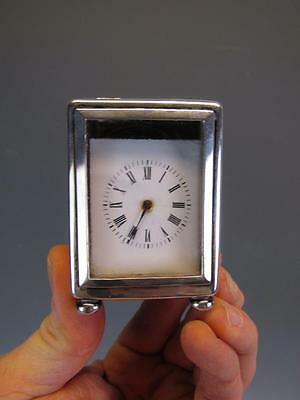 ANTIQUE ENGLSH SILVER MINIATURE CARRIAGE CLOCK with HALLMARKS