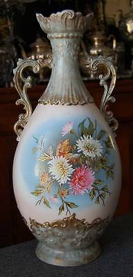 Breathtking Monumental Sized Victoria Carlsbad Austria Hand Ptd Floral Motif Urn