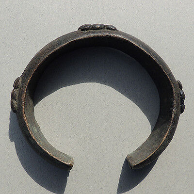 decorated old lost wax cast copper alloy african bracelet currency nigeria #63