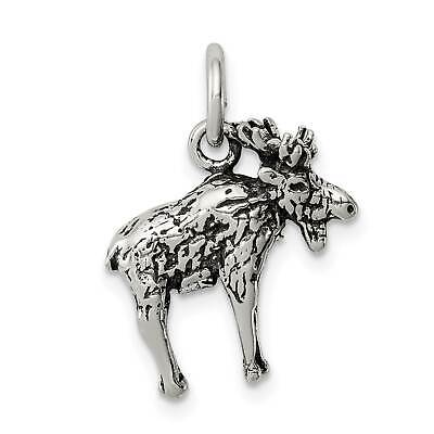 925 Sterling Silver Antiqued Moose Charm and Pendant