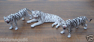 Lot Of 3 White Tigers Tiger Figure Vinyl Toy Realistic