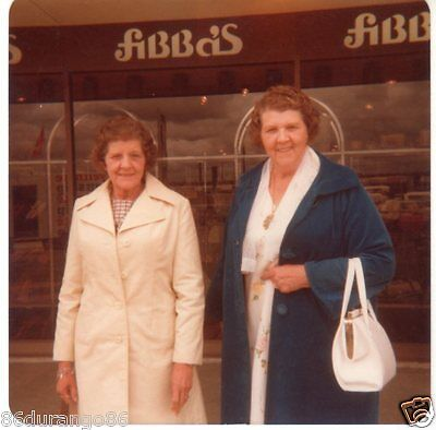 Vintage Photograph 2 Old Women In Front Of Fibbas Store