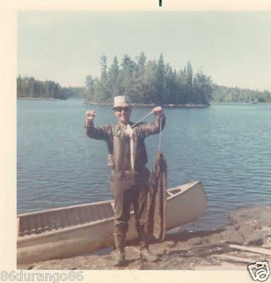 Vintage Photograph 1968 Man Fishing Catch Of The Day