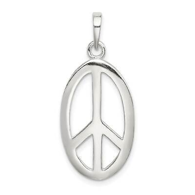 925 Sterling Silver Polished Oval Peace Sign Open-back 26mm x 15mm Charm Pendant
