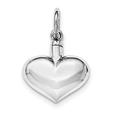 925 Sterling Silver Polished Puffy Heart Ash Holder Hollow Opens Charm Pendant