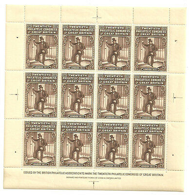 20Th Philatelic Congress Of Great Britain Brown Sheet Of 12 1933 Unmounted Mint