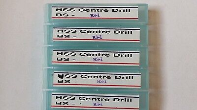 SET OF 5 HSS IMPERIAL CENTRE DRILLS BS1 1/8 x 3/64