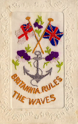 "Royal Navy Ww1 Silk Postcard. Anchor. ""britannia Rules The Waves. Unposted."