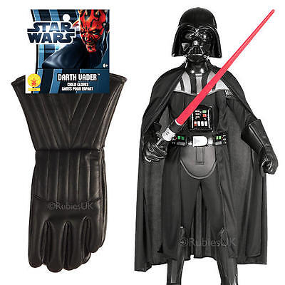 Deluxe Darth Vader + Gloves Kids Fancy Dress Star Wars Childrens Boys Costume
