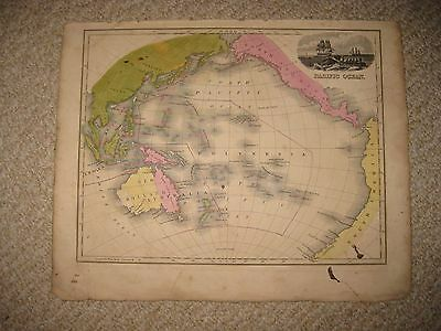 Antique 1839 Pacific Ocean Oceania Unusual Australia New Holland Map Wahling Nr