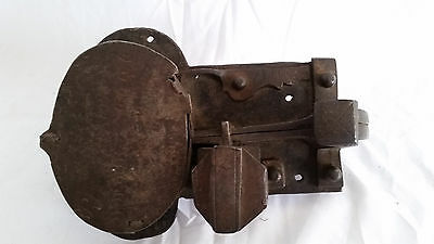 Antique 1700s Wrought/Forged Iron Rim,Box Door Lock,Spring Latch Set,Riveted