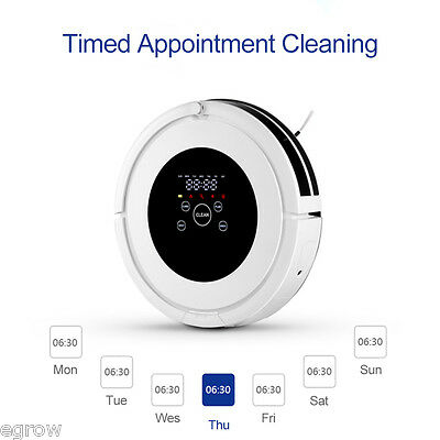 Vacuum Cleaner LED Robotic Automatic Rechargeable Floor Sweeper Mop Robot White