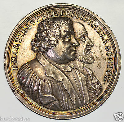 RARE GERMANY, MARTIN LUTHER COMMEMORATIVE 1730, 43mm SILVER MEDAL BY P. WERNER