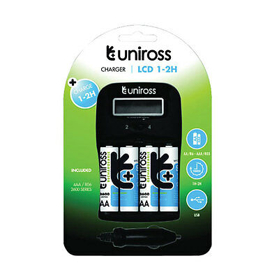 Uniross Fast 1-2hr AA and AAA Battery Charger with 4x AA 2600 Batteries +Car Kit