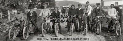 1920 MOTORCYCLE LINEUP 12x36 PANORAMIC PHOTO HARLEY DAVIDSON INDIAN YALE MERKEL