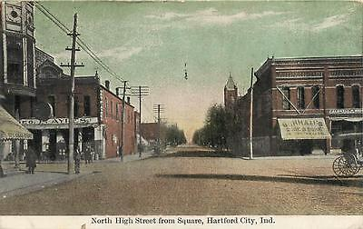 HARTFORD CITY, IN Indiana     North HIGH STREET SCENE   1909   Postcard