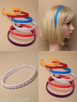 Pack Of 12 Bright Plait Effect Plastic Alice Band, Headbands : Sp-6190 Pk12