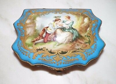 "ANTIQUE 1760's SEVRES FRENCH HAND PAINTED TRINKET BOX BLUE WITH GOLD 8"" LONG"