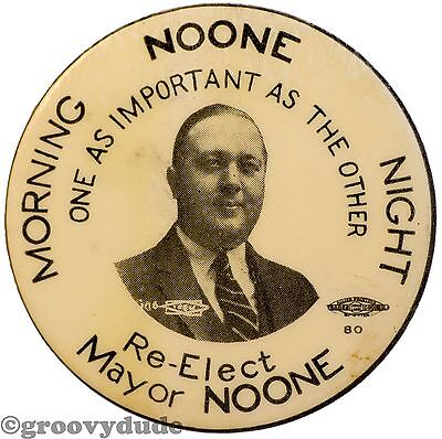 Vintage Re-Elect Mayor Thomas A. Noone Morning Night Revere MA Campaign Mirror