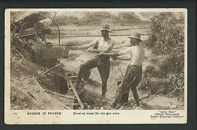 Vintage Postcard - WWI ANZAC's in France Drawing Water Gun Crew - Free Postage