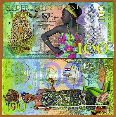 Netherlands Guinea (Ghana) 100 Gulden, 2016 Private Issue POLYMER, UNC > Leopard