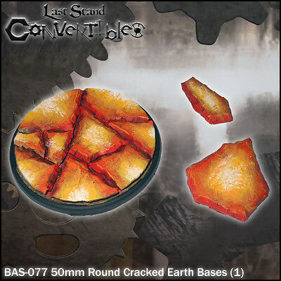 LAST STAND CONVERTIBLES BITS CRACKED EARTH BASES - 1x 50mm ROUND