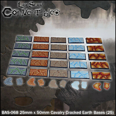 LAST STAND CONVERTIBLES BITS CRACKED EARTH BASES - 25x 25mm x 50mm CAVALRY
